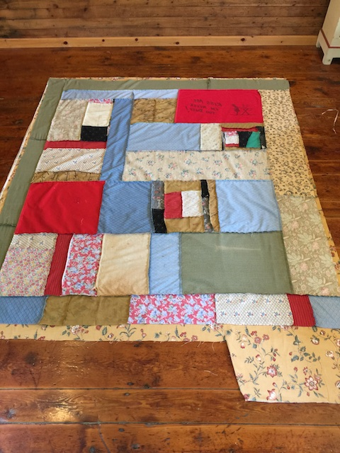 "Putting a backing on ""Kiss Me Quilt"