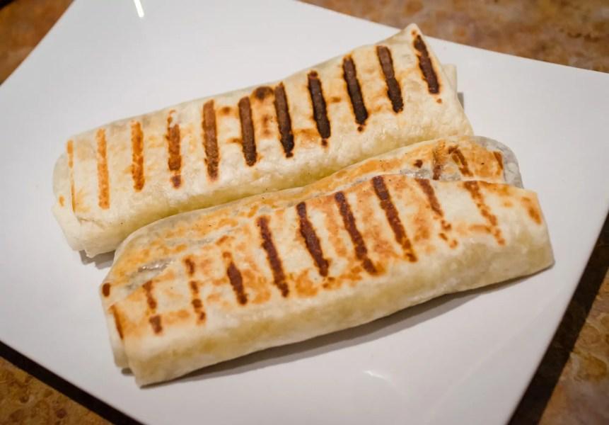 Crunchy vegan burritos on the plate