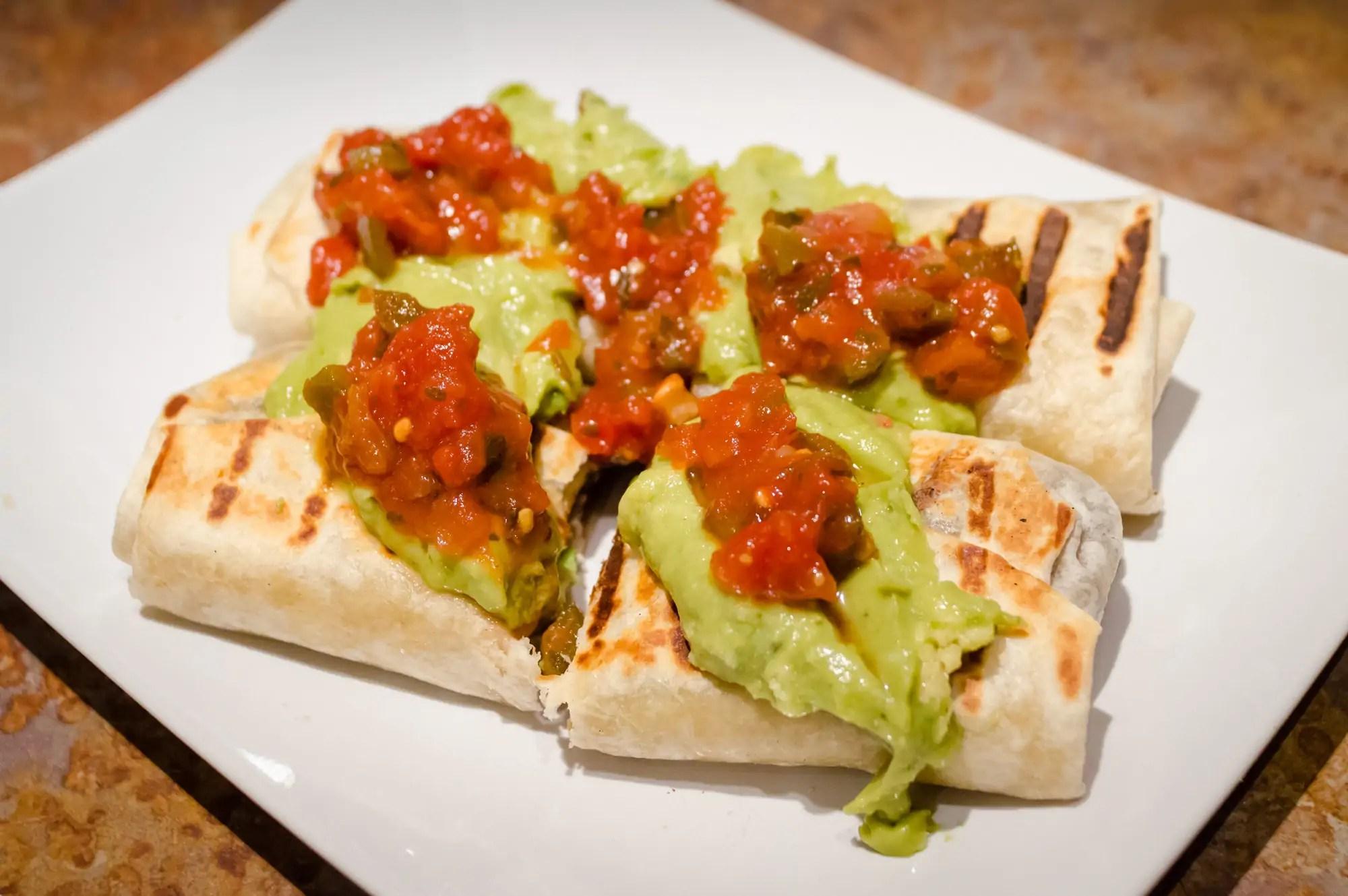 Crispy burritos on the plate