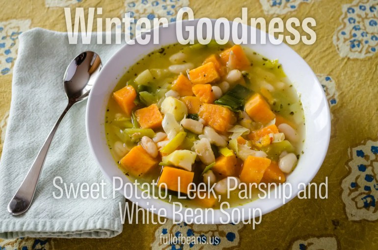 An easy vegan soup recipe with sweet potatoes, leeks, parsnips, and white beans