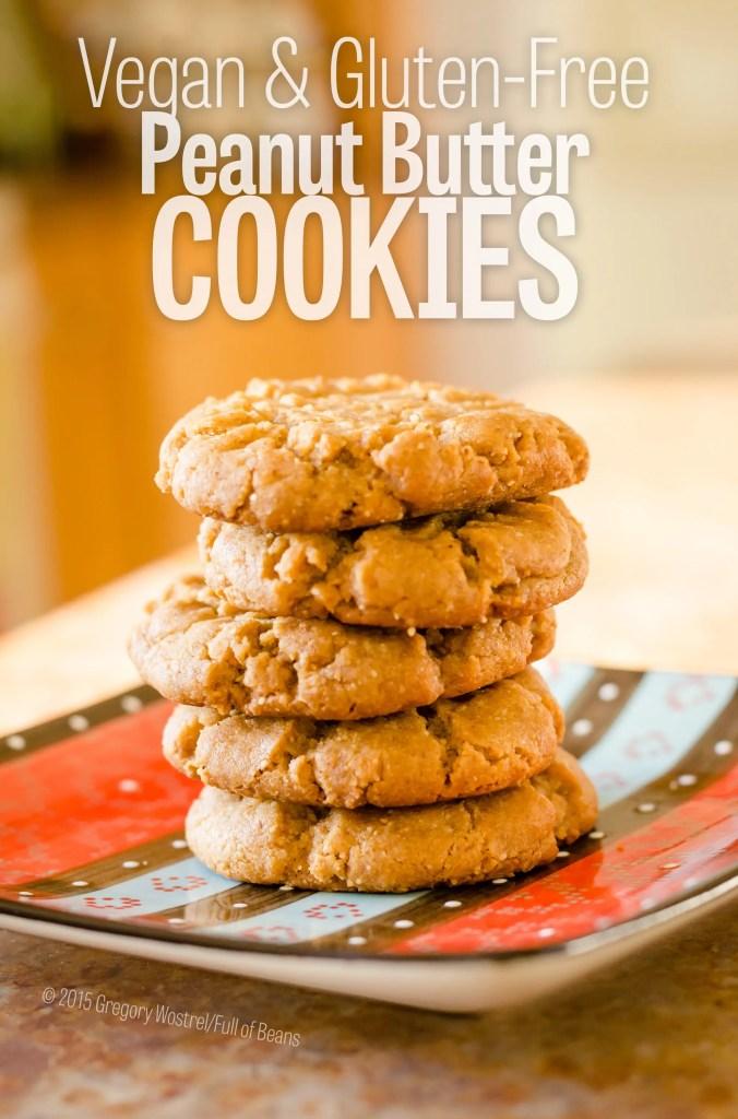 Vegan Peanut Butter Cookies in a stack