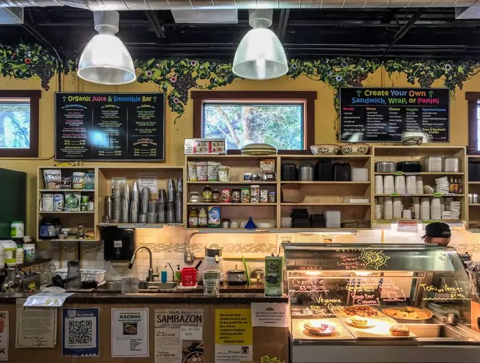 The deli at Heath's Natural Foods. Lots of options for everyone, but particularly for vegans!