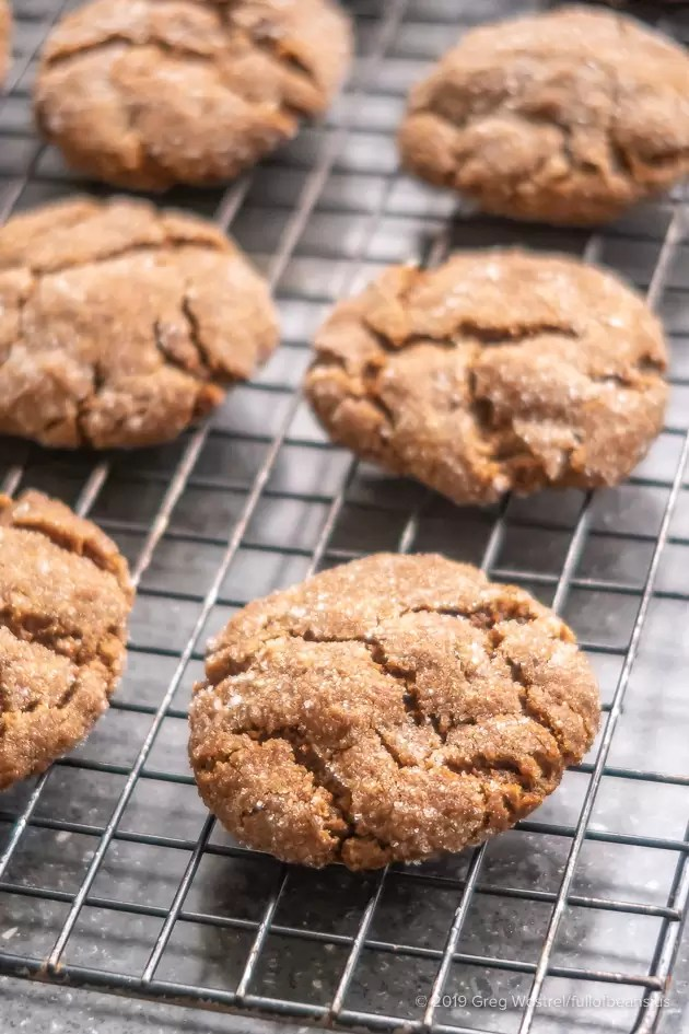 Vegan Molasses Cookies, fresh from the oven on cooling racks
