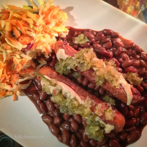 A typical meal with the fat free vegan baked beans: Lightlife vegan hotdogs, mustard and relish, and coleslaw!