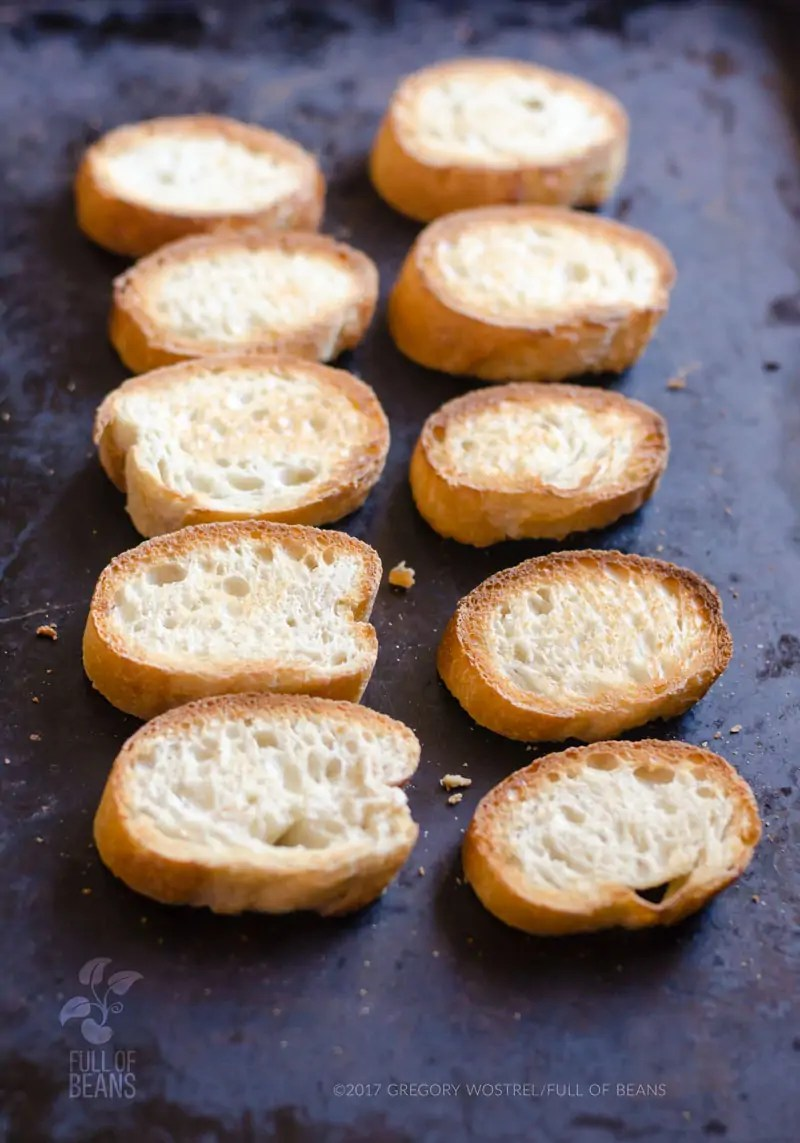 French bread slices all toasted up