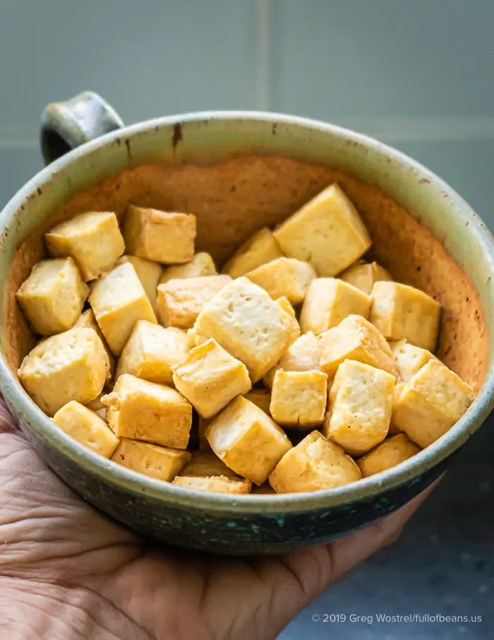 Crispy Air-Fried Tofu Cubes In A Bowl