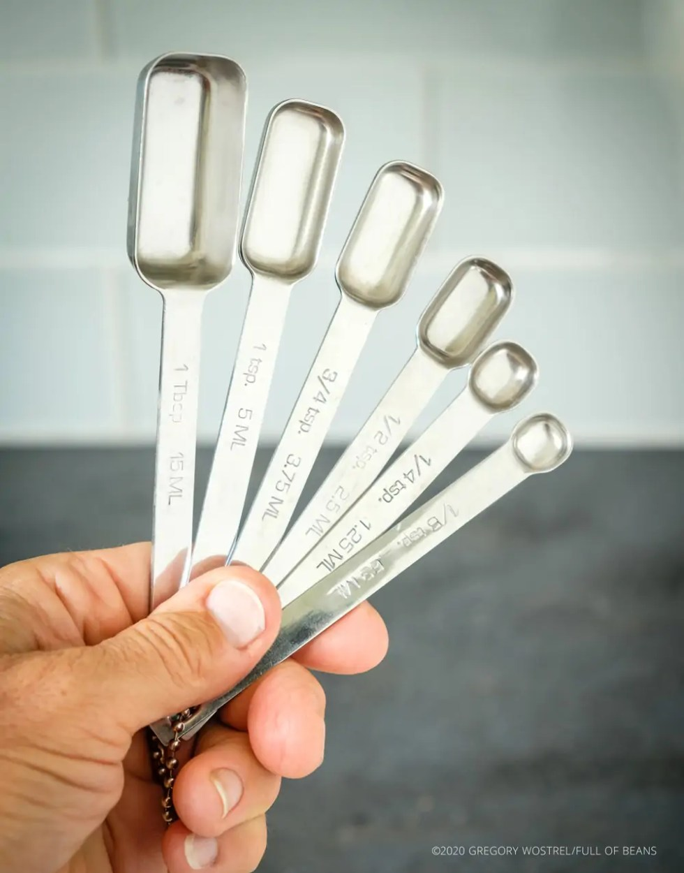 Full set of rectangular measuring spoons