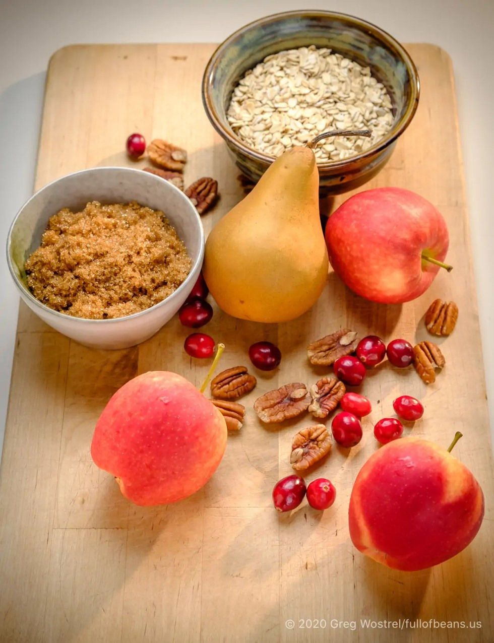 Pears, Apples, Pecans, Cranberry, Oatmeal and Brown Sugar which make a special vegan holiday dessert
