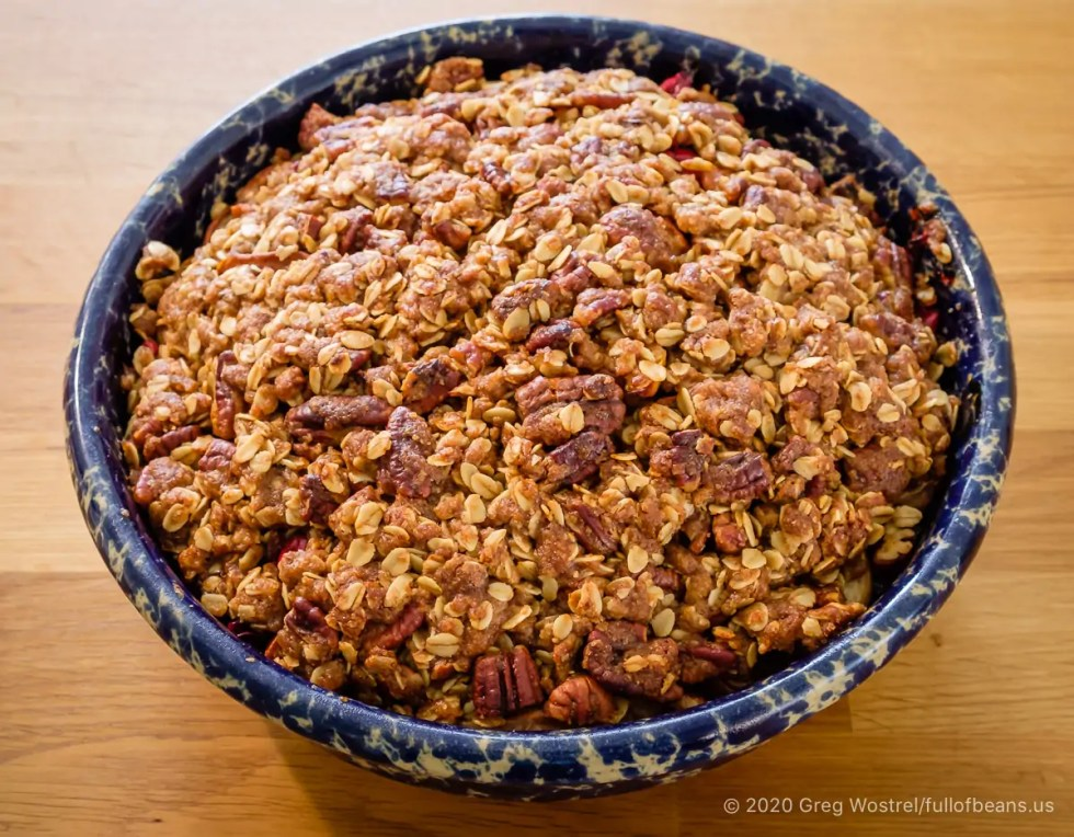 Apple, Pear, and Cranberry Crisp - freshly baked. A special vegan holiday dessert