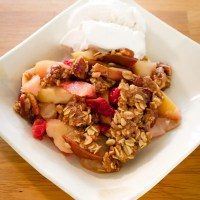 Apple, Pear and Cranberry Crisp with Oatmeal and Pecan Topping