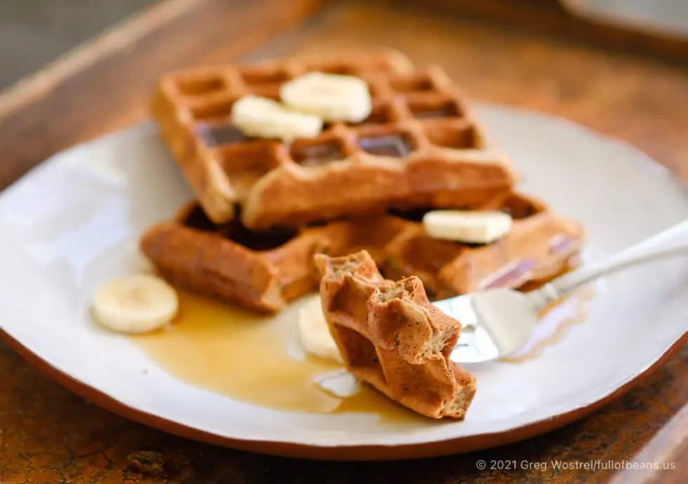 delicious banana waffles on a plate