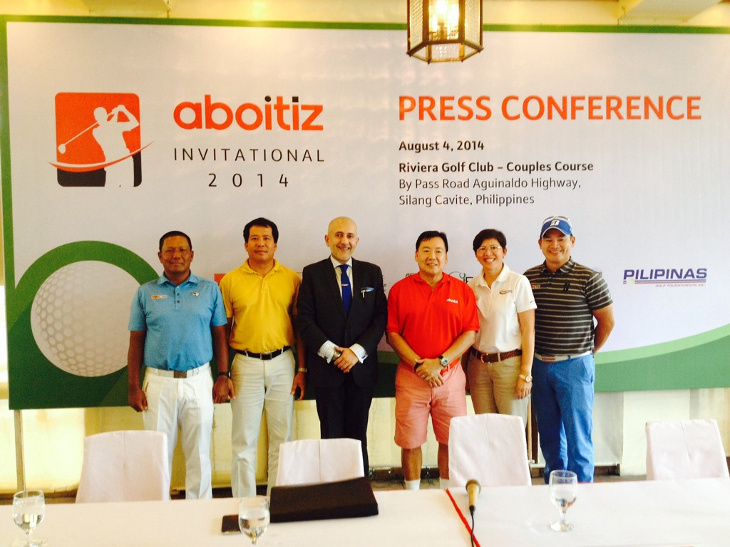 Ernest Villareal (third from right), vice president of Aboitiz, and Asian Tour's Associate Director of Business Development Irfan Hamid (third from left), pose with (from left) pro Tony Lascuña, Riviera's golf superintendent Philip Ruiz, Pilipinas Golf Tournaments Inc. general manager Colo Ventosa and pro Angelo Que during the launch of the $100,000 Aboitiz Invitational, the 14th leg of this year's Asian Development Tour, set Aug. 27-30 at Riviera Golf and Country Club's Couples Course in Silang, Cavite.