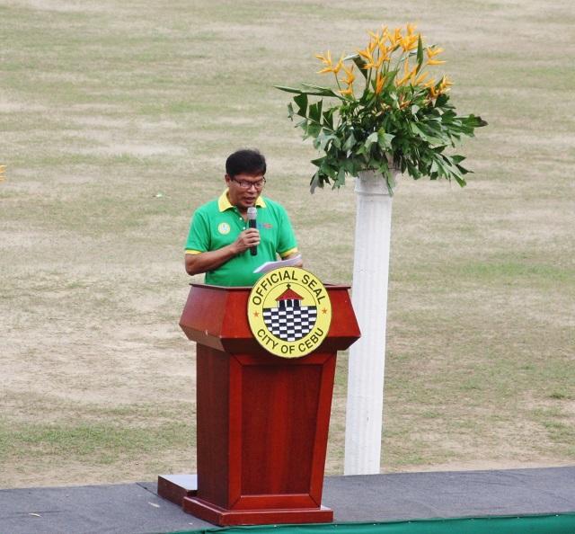 Education supervisor Faviolito B. Alberca formally declares the 24th Cebu City Olympics open.