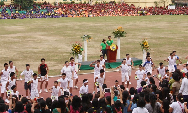 Elementary and secondary candidates of the Mr. Cebu City Olympics in their production number.