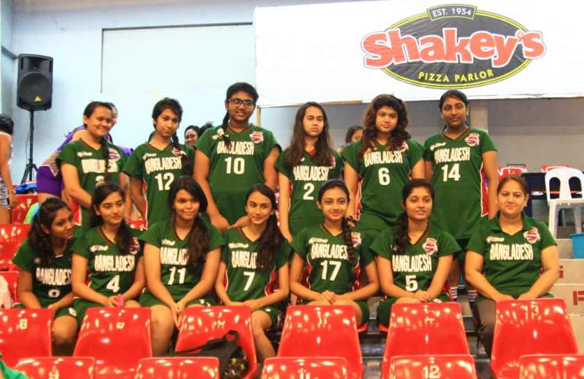 Members of Team Bangladesh pose during a break in the Shakey's Girls Volleyball League Season 12 League of Champions at the Ynares Sports Arena in Pasig City.