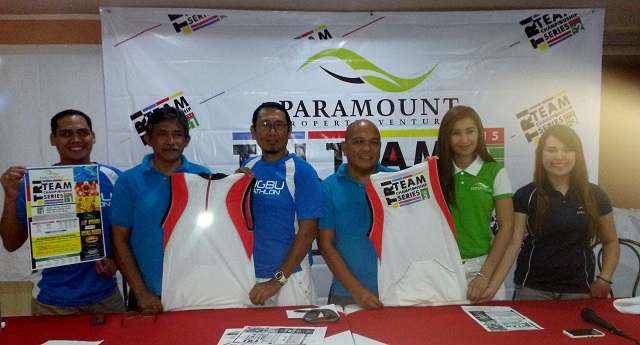 Members of Sugbu Triathlon pose with representatives of Paramount Property Ventures during the press conference held at the Fuente Pension House. From left to right are Anton Regis, Jess Arriola, Rick Dizon, Benjoe Gimenez, Arli Arcenas-Vergara and Kashaila Abarquez.