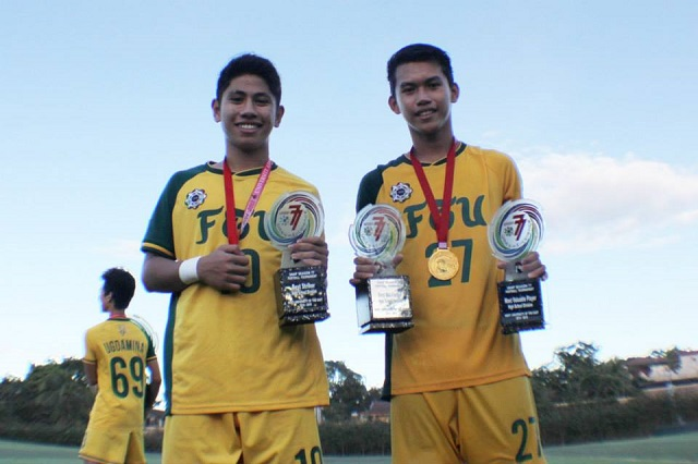 FEU's Mark Joseph Arrangue (left)z, named Best Striker, and Dominique Canonigo, named Most Valuable Player and Best Midfielder in the UAAP Junior Football Awards. Both used to be players of the Abellana National School.