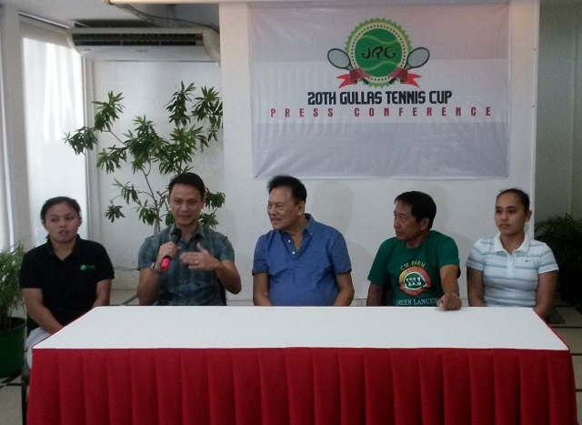 "JRG 20th Gullas Tennis Cup press conference with (L-R) Sally Mae Siso, John Pages, Jose R. ""Dodong"" Gullas, Fritz Tabura and Hannah Espinosa. (Photo by Mars G. Alison)"