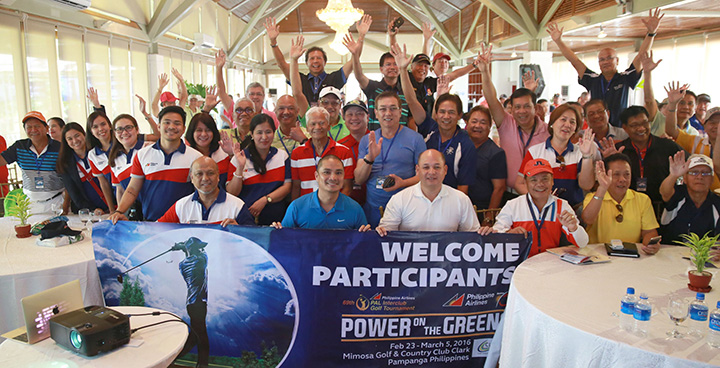 PAL INTERCLUB TEAM CAPTAINS. A total of 94 teams participating in the 30th PAL Seniors Interclub show their eagerness to start competition at the Mimosa Golf & Country Club in Clark, Pampanga, during the 2nd team captains meeting last February 23, 2016. Joining the team captains are Genaro Velasquez, chairman - PAL Interclub Executive Committee; Eric Gozo, general manager - Mimosa Golf & Country Club; Henry Arabelo - tournament director; Shirley Ho Vicario, PAL Corporate Communications Head; Pinky Custodio, manager - PAL Activations and other PAL Interclub working committee staff.