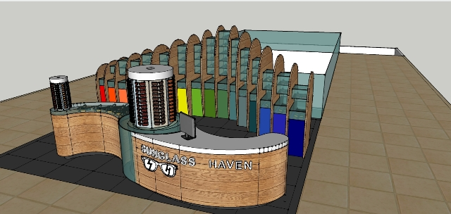3D rendering of the kiosk.