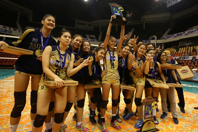 Members of the National U Lady Bulldogs, led by Conference MVP Jaja Santiago (left) and Finals MVP Jasmine Nabor (center) celebrate their back-to-back title romp over the Ateneo Lady Eagles in the Shakey's V-League Season 13 Collegiate Conference at the Philsports Arena in Pasig late Wednesday.