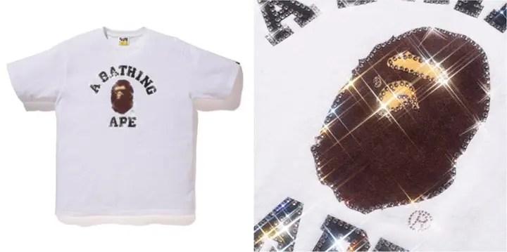 6/13発売!エイプ (A BATHING APE)からギラギラのスワロフスキーを施したロゴTシャツ「COLLEGE TEE」が登場!
