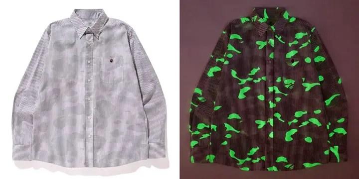 6/13発売!エイプ (A BATHING APE)からレインボーカラーの刺繍で施したポロシャツと暗闇で光る蓄光素材のストライプシャツが登場!