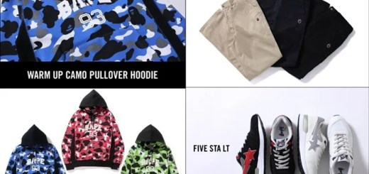 10/10からA BATHING APE 「WARM UP CAMO PULLOVER HOODIE」「APE HEAD ONE POINT CHINO PANTS」「FIVE STA LT」が発売! (エイプ)