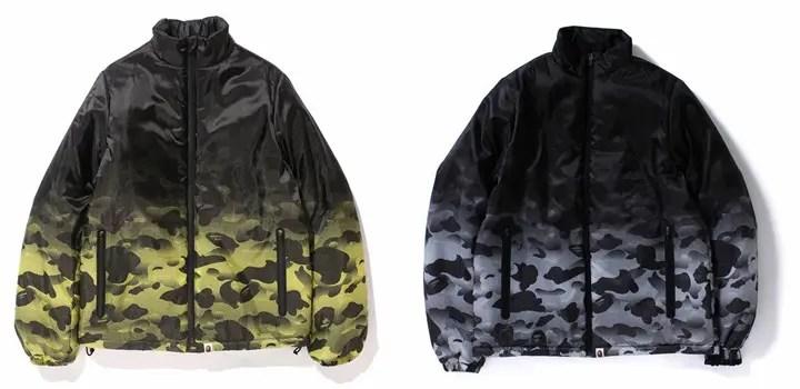 A BATHING APEから新たに誕生したカラーのオリジナルカモフラージュ「NOISE CAMO」を採用したパデッドジャケットが1/9から発売!(エイプ)