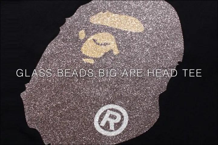 A BATHING APEからガラスビーズで仕上げたBIG APE HEADの「GLASS BEADS BIG APE HEAD TEE」が4/9発売!(エイプ)