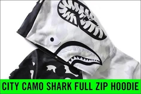 A BATHING APEからブラックとホワイトのCITY CAMOで二等分しシャークモチーフが配した「CITY CAMO SHARK FULL ZIP HOODIE」が4/16発売!(エイプ)
