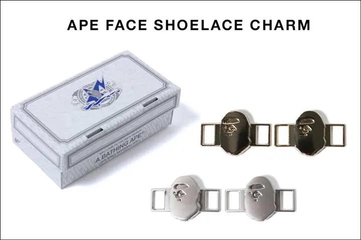 A BATHING APEからAPE HEADをかたどった靴紐部分に付けるシューレースチャーム「APE FACE SHOELACE CHARM」が5/21から発売!(エイプ)