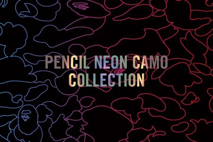 A BATHING APEから鉛筆で書いたような細いラインのCAMO柄をグラデーションカラーで表現した2016 A/W 新柄「PENCIL NEON CAMO」アイテムが12/3から発売! (ア ベイシング エイプ)
