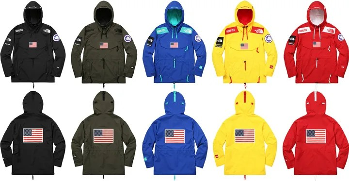 「'17SS Supreme × THE NORTH FACE Trans Antarctica Expedition Gore-Tex Pullover」の画像検索結果