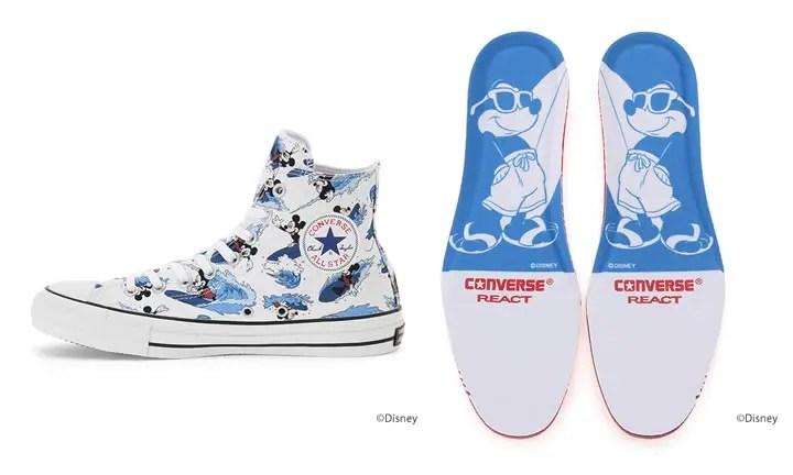 ミッキーマウスがサーフィンをする夏らしいプリントをアッパー全体に施したCONVERSE ALL STAR 100 MICKEY MOUSE SURFIN HIが5月発売! (コンバース オールスター 100 ミッキーマウス サーフィン ハイ)
