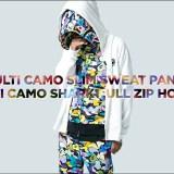 A BATHING APEよりオリジナルカモ柄の「MULTI CAMO」で仕上げたフルジップフーディとスリムスウェットパンツが「MULTI CAMO SHARK FULL ZIP HOODIE/PANTS」8/19発売! (ア ベイシング エイプ)