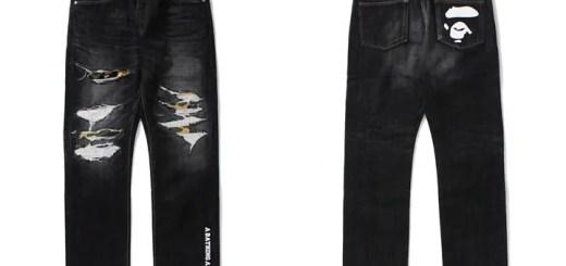 A BATHING APEよりユーズド加工とダメージ加工を施したメイド・イン・ジャパンのデニムパンツ「1999 TYPE-02 DAMAGED DENIM PANTS」が8/19発売 (ア ベイシング エイプ)