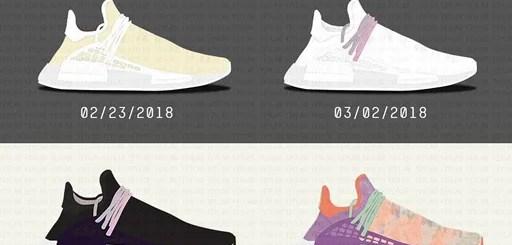 """【リーク】2018年2月3月発売予定!Pharrell Williams x adidas Originals NMD """"HUMAN RACE"""" New 4 Color (ファレル・ウィリアムス アディダス オリジナルス エヌ エム ディー """"ヒューマン レース"""" 2018)"""
