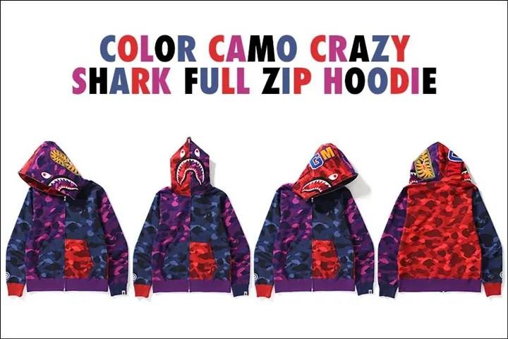 A BATHING APEからCOLOR CAMOのレッド、ネイビー、パープルを使ったクレイジーパターンのシャークフルジップフーディー「COLOR CAMO CRAZY SHARK FULL ZIP HOODIE」が9/30発売! (ア ベイシング エイプ)