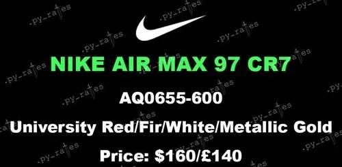 """海外近日発売予定!ナイキ エア マックス 97 CR7 """"ユニバーシティー レッド"""" (NIKE AIR MAX 97 CR7 """"University Red"""") [AQ0655-600]"""