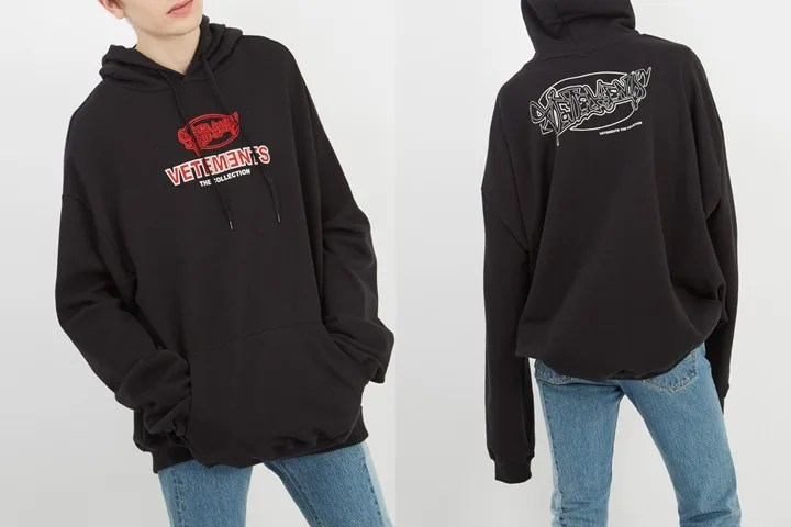 """グラフィティフォントのロゴをプリントしたVETEMENTS 2018 S/S """"Hooded logo-print jersey sweatshirt"""" (ヴェトモン 2018 春夏)"""