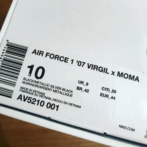 "MoMA x VIRGIL NIKE AIR FORCE 1 07 LOW ""Black/Metallic Silver"" (モマ ヴァージル ナイキ エア フォース 1 ロー ""ブラック/メタリック シルバー"") [AV5210-001]"
