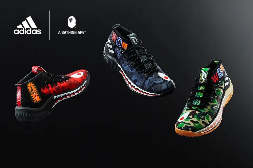 """2/24発売!A BATHING APE × adidas Dame 4 """"BAPE Pack"""" (ア ベイシング エイプ アディダス ダミアン・リラード 4 """"ベイプ パック"""") [AP9974,9975]"""