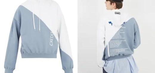 """VETEMENTS 2018 S/S """"Bi-colour hooded sweatshirt"""" (ヴェトモン 2018 春夏)"""