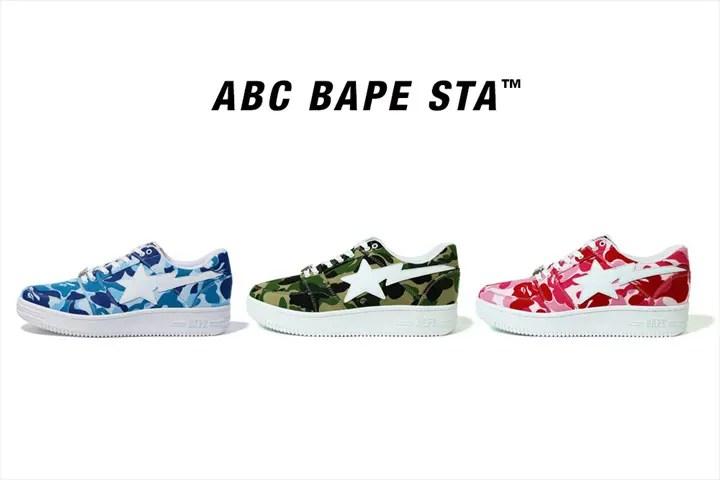 A BATHING APEより帆布生地でABC CAMO柄仕上げたBAPE STA LOW 3カラーが3/10発売 (ア ベイシング エイプ)