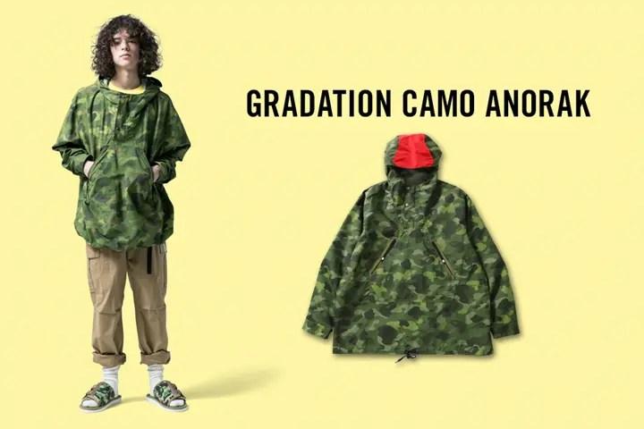 A BATHING APEからグラデーションカモを落とし込み都会的な一着へと仕上げた新作アイテム「GRADATION CAMO ANORAK」が3/17から発売 (ア ベイシング エイプ)