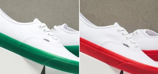 """半透明のカラーソールを装備したVANS AUTHENTIC """"White/Red/Green"""" (バンズ オーセンティック """"ホワイト/レッド/グリーン"""")"""