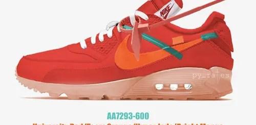 """【リーク】2018/12発売予定!OFF-WHITE c/o VIRGIL ABLOH × NIKE AIR MAX 90 """"University Red/Team Orange"""" """"Part 2"""" (オフホワイト ナイキ エア マックス 90 """"パート 2"""" """"ユニバーシティ レッド/チーム オレンジ"""") [AA7293-600]"""