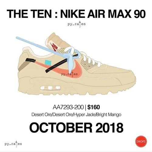 """【リーク】2018/10発売予定!OFF-WHITE c/o VIRGIL ABLOH × NIKE AIR MAX 90 """"Desert Ore"""" """"Part 2"""" (オフホワイト ナイキ エア マックス 90 """"パート 2"""" """"デザート オレ"""") [AA7293-200]"""