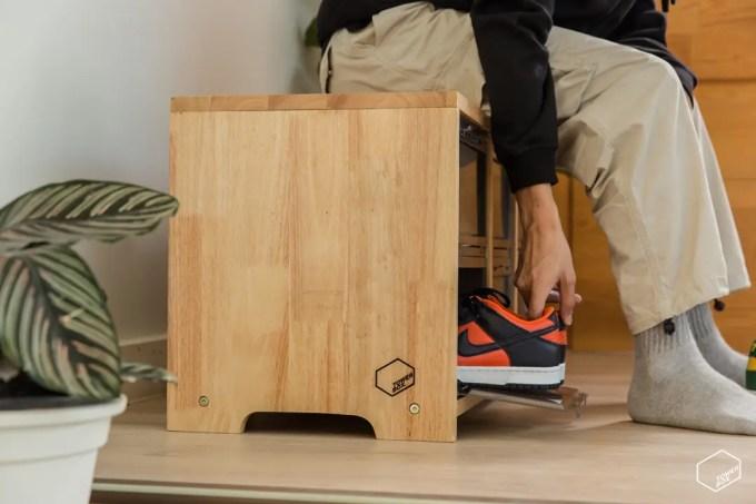 ローテーブルにもスツールにもなっちゃう「TOWER BOX SNEAKERS WOODEN STOOL」が発売 (タワーボックス)